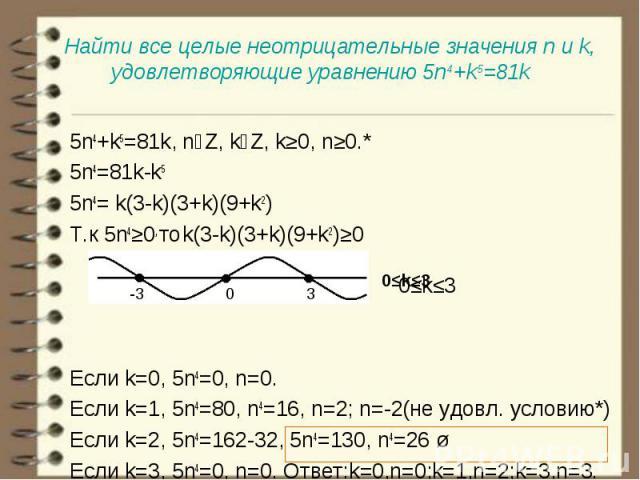 5n4+k5=81k, nϵZ, kϵZ, k≥0, n≥0.* 5n4+k5=81k, nϵZ, kϵZ, k≥0, n≥0.* 5n4=81k-k5 5n4= k(3-k)(3+k)(9+k2) Т.к 5n4≥0, то k(3-k)(3+k)(9+k2)≥0 0≤k≤3 Если k=0, 5n4=0, n=0. Если k=1, 5n4=80, n4=16, n=2; n=-2(не удовл. условию*) Если k=2, 5n4=162-32, 5n4=130, n…