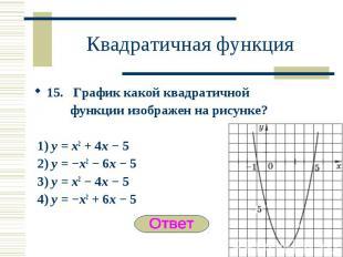 15. График какой квадратичной 15. График какой квадратичной функции изображен на