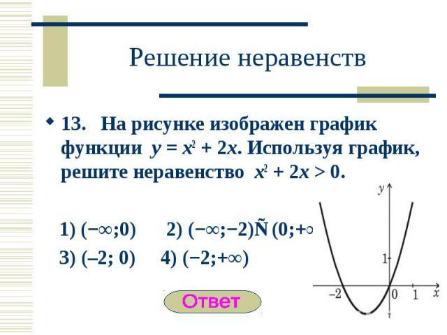 13. На рисунке изображен график функции y = x2 + 2x. Используя график, решите неравенство x2 + 2x > 0. 13. На рисунке изображен график функции y = x2 + 2x. Используя график, решите неравенство x2 + 2x > 0. 1) (−∞;0) 2) (−∞;−2)∪(0;+∞) 3) (–2; 0…