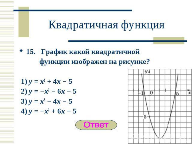 15. График какой квадратичной 15. График какой квадратичной функции изображен на рисунке? 1) y = x2 + 4x − 5 2) y = −x2 − 6x − 5 3) y = x2 − 4x − 5 4) y = −x2 + 6x − 5