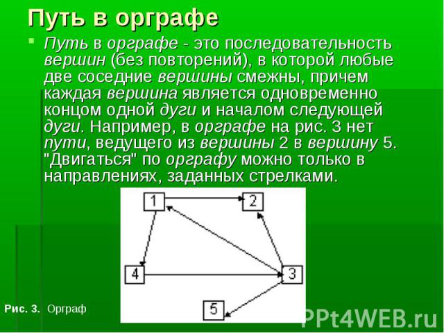 Путь в орграфе - это последовательность вершин (без повторений), в которой любые две соседние вершины смежны, причем каждая вершина является одновременно концом одной дуги и началом следующей дуги. Например, в орграфе на рис. 3 нет пути, ведущего из…