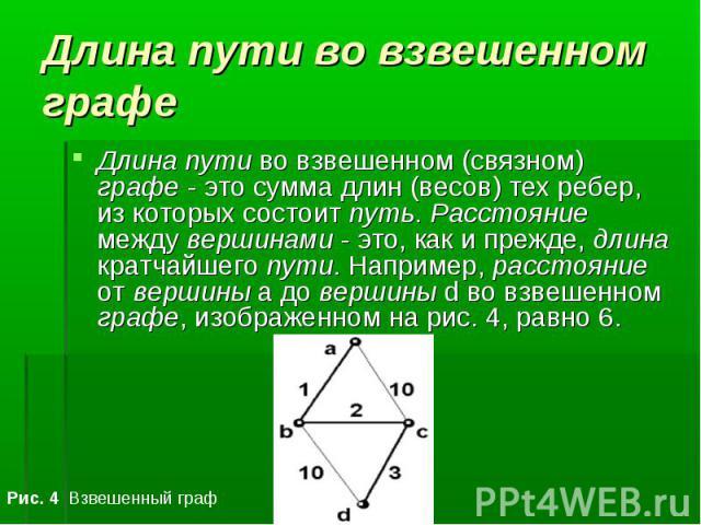 Длина пути во взвешенном (связном) графе - это сумма длин (весов) тех ребер, из которых состоит путь. Расстояние между вершинами - это, как и прежде, длина кратчайшего пути. Например, расстояние от вершины a до вершины d во взвешенном графе, изображ…