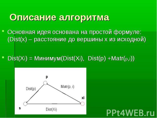 Основная идея основана на простой формуле: (Dist(x) – расстояние до вершины x из исходной) Основная идея основана на простой формуле: (Dist(x) – расстояние до вершины x из исходной) Dist(Xi) = Минимум(Dist(Xi), Dist(p) +Matr(p,i))