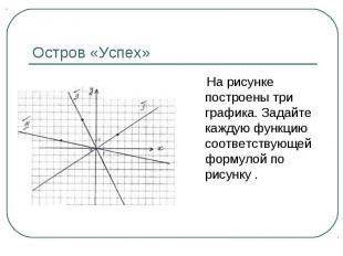 На рисунке построены три графика. Задайте каждую функцию соответствующей формуло