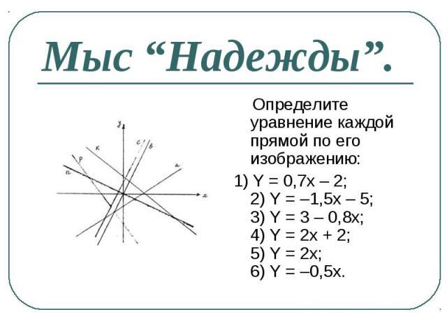 Определите уравнение каждой прямой по его изображению: Определите уравнение каждой прямой по его изображению: 1) Y = 0,7x – 2; 2) Y = –1,5x – 5; 3) Y = 3 – 0,8x; 4) Y = 2x + 2; 5) Y = 2x; 6) Y = –0,5x.