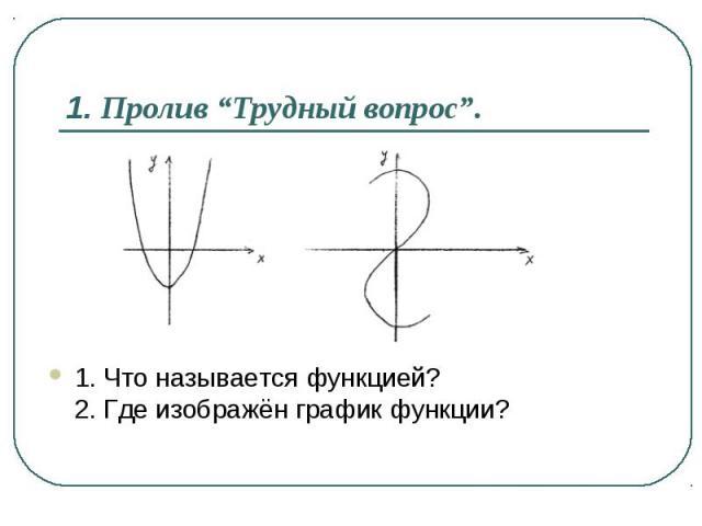 1. Что называется функцией? 2. Где изображён график функции? 1. Что называется функцией? 2. Где изображён график функции?