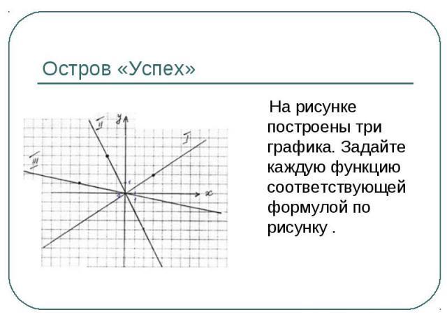 На рисунке построены три графика. Задайте каждую функцию соответствующей формулой по рисунку . На рисунке построены три графика. Задайте каждую функцию соответствующей формулой по рисунку .