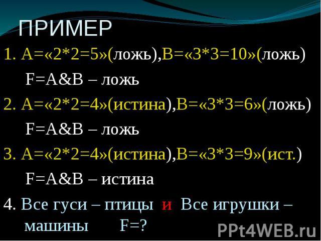 ПРИМЕР 1. А=«2*2=5»(ложь),В=«3*3=10»(ложь) F=А&В – ложь 2. А=«2*2=4»(истина),В=«3*3=6»(ложь) F=А&В – ложь 3. А=«2*2=4»(истина),В=«3*3=9»(ист.) F=А&В – истина 4. Все гуси – птицы и Все игрушки – машины F=?