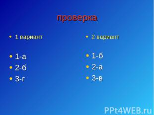 1 вариант 1 вариант 1-а 2-б 3-г