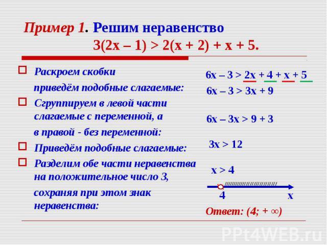 Раскроем скобки Раскроем скобки приведём подобные слагаемые: Сгруппируем в левой части слагаемые с переменной, а в правой - без переменной: Приведём подобные слагаемые: Разделим обе части неравенства на положительное число 3, сохраняя при этом знак …