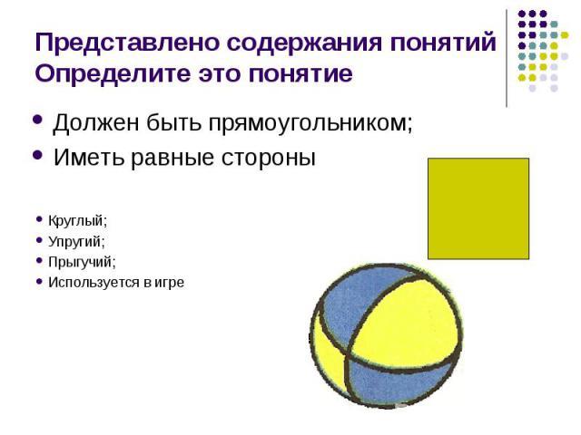 Должен быть прямоугольником; Должен быть прямоугольником; Иметь равные стороны