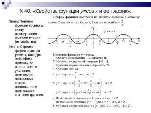 Знать: Понятие функции косинуса, схему исследования функции y=cos x (ее свойства