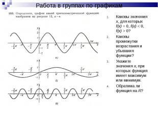 Каковы значения х, для которых f(x) = 0, f(x) < 0, f(x) > 0? Каковы значен