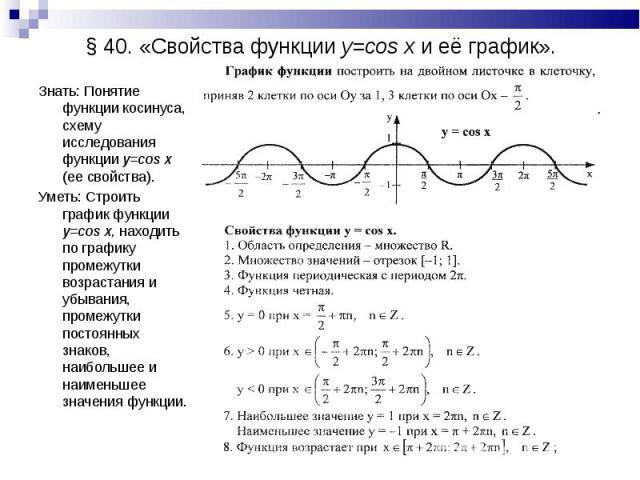 Знать: Понятие функции косинуса, схему исследования функции y=cos x (ее свойства). Знать: Понятие функции косинуса, схему исследования функции y=cos x (ее свойства). Уметь: Строить график функции y=cos x, находить по графику промежутки возрастания и…