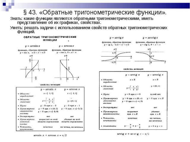 Знать: какие функции являются обратными тригонометрическими, иметь представление об их графиках, свойствах. Знать: какие функции являются обратными тригонометрическими, иметь представление об их графиках, свойствах. Уметь: решать задачи с использова…