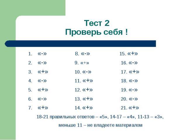 «-» 8. «-» 15. «+» «-» 8. «-» 15. «+» «-» 9. «+» 16. «-» «+» 10. «-» 17. «+» «-» 11. «+» 18. «-» «+» 12. «+» 19. «-» «-» 13. «+» 20. «-» «+» 14. «+» 21. «+»
