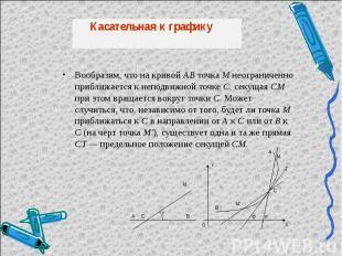 Вообразим, что на кривой АВ точка М неограниченно приближается к неподвижной точ