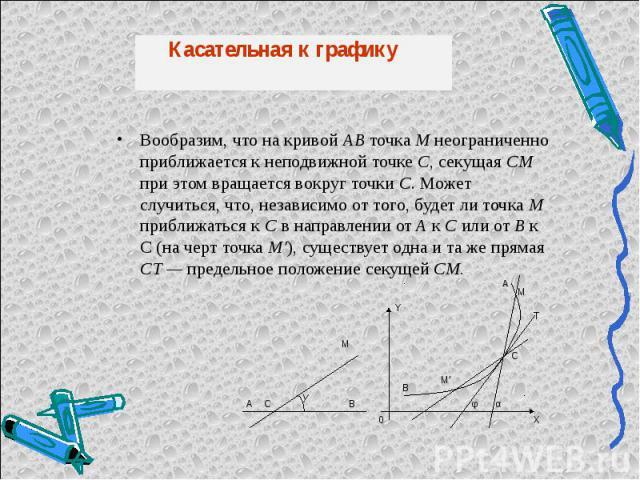 Вообразим, что на кривой АВ точка М неограниченно приближается к неподвижной точке С, секущая СМ при этом вращается вокруг точки С. Может случиться, что, независимо от того, будет ли точка М приближаться к С в направлении от A к С или от В к С (на ч…