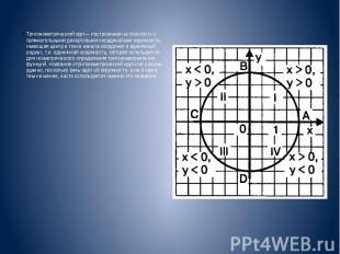 Тригонометрический круг— построенная на плоскости с прямоугольными декартовыми к