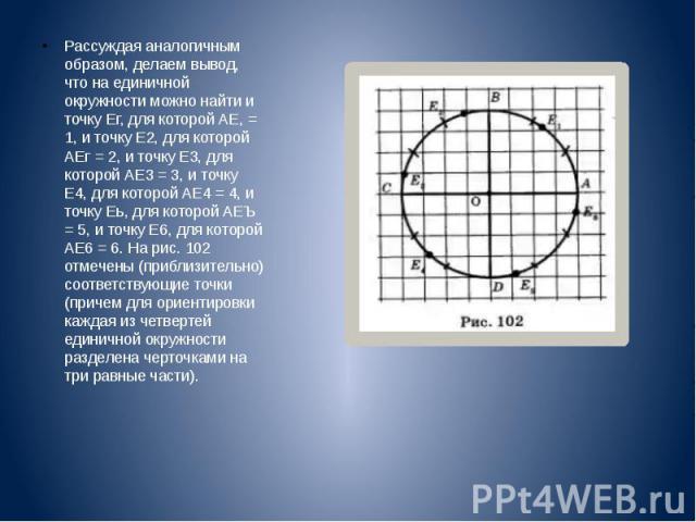 Рассуждая аналогичным образом, делаем вывод, что на единичной окружности можно найти и точку Ег, для которой АЕ, = 1, и точку Е2, для которой АЕг = 2, и точку Е3, для которой АЕ3 = 3, и точку Е4, для которой АЕ4 = 4, и точку Еь, для которой АЕЪ = 5,…