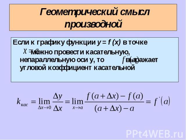 Если к графику функции y = f (x) в точке Если к графику функции y = f (x) в точке можно провести касательную, непараллельную оси у, то выражает угловой коэффициент касательной
