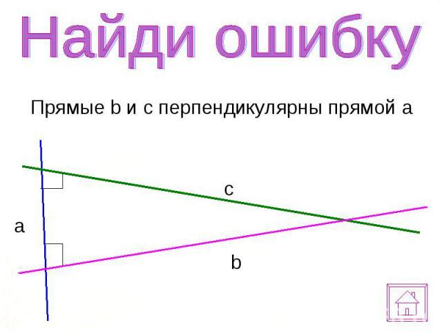 Прямые b и c перпендикулярны прямой a Прямые b и c перпендикулярны прямой a