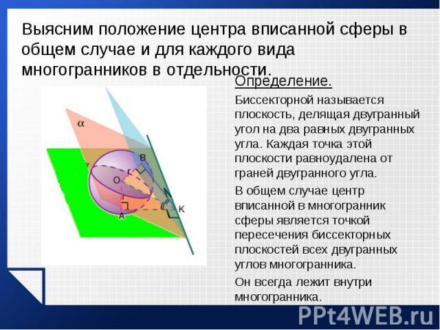 Определение. Определение. Биссекторной называется плоскость, делящая двугранный угол на два равных двугранных угла. Каждая точка этой плоскости равноудалена от граней двугранного угла. В общем случае центр вписанной в многогранник сферы является точ…