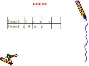 Тесты-1 б а в а Тесты-2 а б а в
