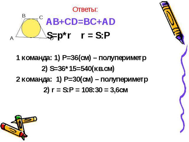 AB+CD=BC+AD AB+CD=BC+AD S=p*r r = S:P 1 команда: 1) P=36(cм) – полупериметр 2) S=36*15=540(кв.см) 2 команда: 1) P=30(cм) – полупериметр 2) r = S:P = 108:30 = 3,6см