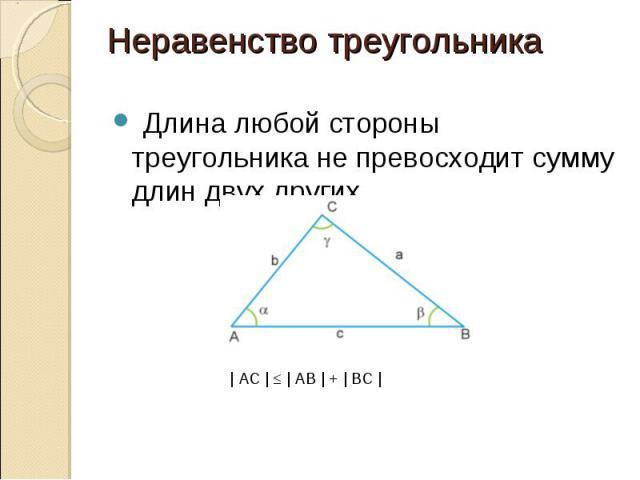 Длина любой стороны треугольника не превосходит сумму длин двух других Длина любой стороны треугольника не превосходит сумму длин двух других