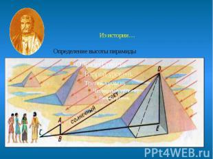 Из истории… Определение высоты пирамиды