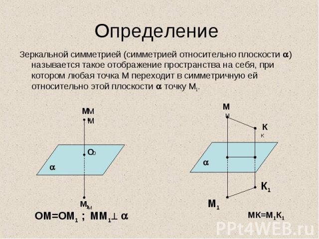 Зеркальной симметрией (симметрией относительно плоскости ) называется такое отображение пространства на себя, при котором любая точка М переходит в симметричную ей относительно этой плоскости точку М1. Зеркальной симметрией (симметрией относительно …