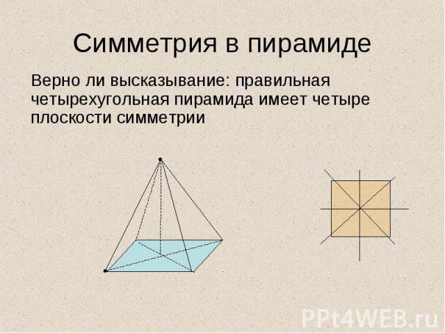 Верно ли высказывание: правильная четырехугольная пирамида имеет четыре плоскости симметрии Верно ли высказывание: правильная четырехугольная пирамида имеет четыре плоскости симметрии
