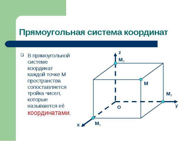 В прямоугольной системе координат каждой точке M пространства сопоставляется тройка чисел, которые называются её координатами. В прямоугольной системе координат каждой точке M пространства сопоставляется тройка чисел, которые называются её координатами.