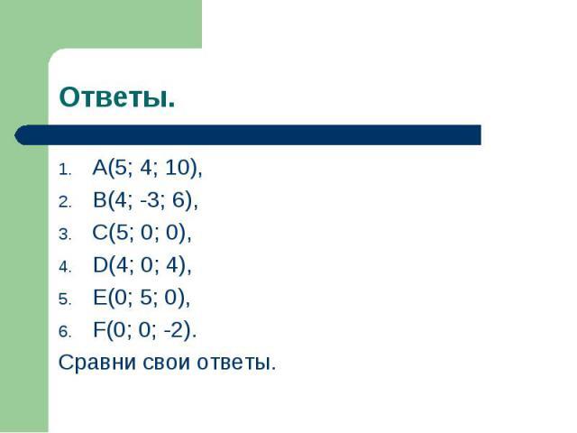 A(5; 4; 10), A(5; 4; 10), B(4; -3; 6), C(5; 0; 0), D(4; 0; 4), E(0; 5; 0), F(0; 0; -2). Сравни свои ответы.