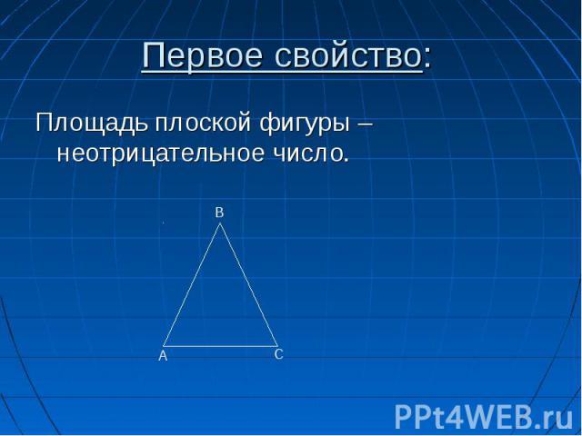 Площадь плоской фигуры – неотрицательное число. Площадь плоской фигуры – неотрицательное число.