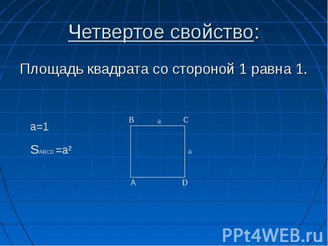 Площадь квадрата со стороной 1 равна 1. Площадь квадрата со стороной 1 равна 1.