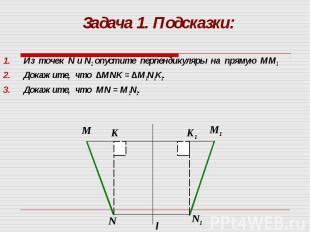 Из точек N и N1 опустите перпендикуляры на прямую ММ1 Из точек N и N1 опустите п