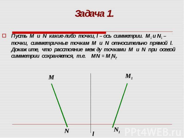 Пусть М и N какие-либо точки, l – ось симметрии. М1 и N1 – точки, симметричные точкам М и N относительно прямой l. Докажите, что расстояние между точками М и N при осевой симметрии сохраняется, т.е. МN = M1N1. Пусть М и N какие-либо точки, l – ось с…