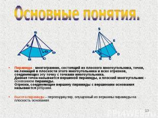Пирамида - многогранник, состоящий из плоского многоугольника, точки, не лежащей