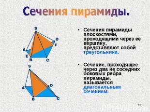 Сечения пирамиды плоскостями, проходящими через её вершину, представляют собой т