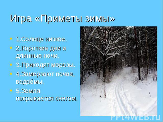 1.Солнце низкое. 1.Солнце низкое. 2.Короткие дни и длинные ночи. 3.Приходят морозы. 4.Замерзают почва, водоёмы. 5.Земля покрывается снегом.