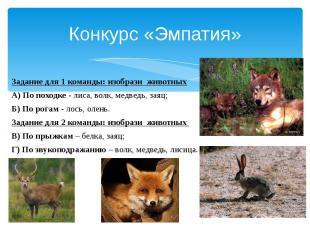 Конкурс «Эмпатия» Задание для 1 команды: изобрази животных А) По походке - лиса,