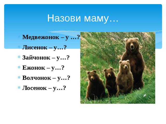 Назови маму… Медвежонок – у …? Лисенок – у…? Зайчонок – у…? Ежонок – у…? Волчонок – у…? Лосенок – у…?