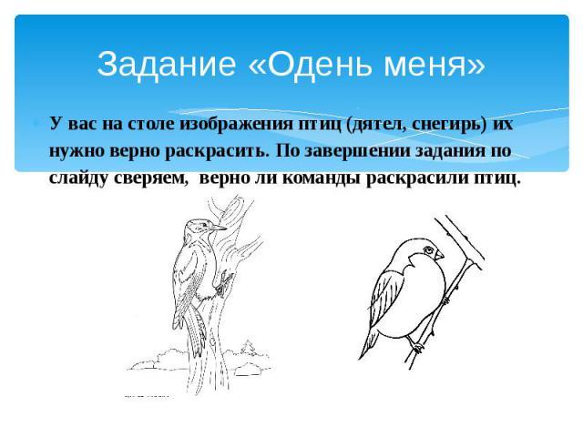 Задание «Одень меня» У вас на столе изображения птиц (дятел, снегирь) их нужно верно раскрасить. По завершении задания по слайду сверяем, верно ли команды раскрасили птиц.
