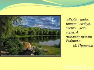 «Рыбе - вода, птице - воздух, зверю – лес и горы. А человеку нужна Родина.» «Рыб