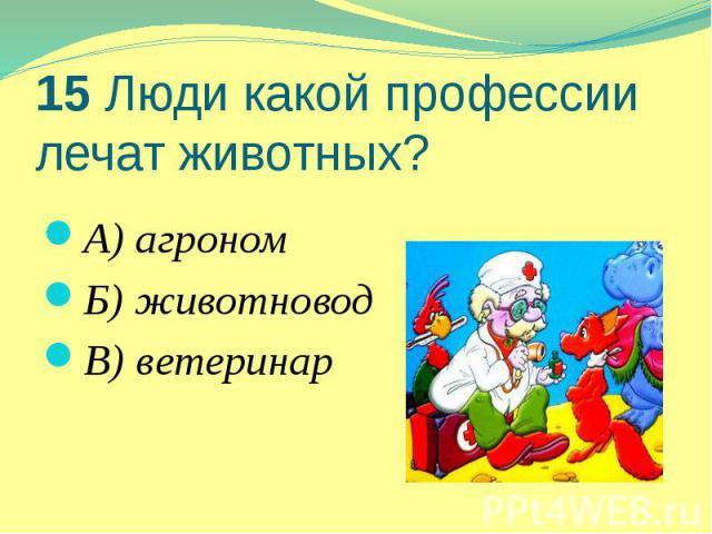 15 Люди какой профессии лечат животных? А) агроном Б) животновод В) ветеринар