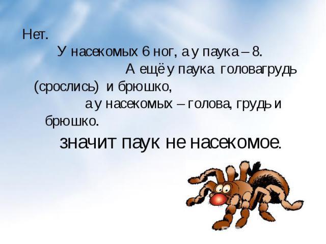 Нет. У насекомых 6 ног, а у паука – 8. А ещё у паука головагрудь (срослись) и брюшко, а у насекомых – голова, грудь и брюшко. значит паук не насекомое. Нет. У насекомых 6 ног, а у паука – 8. А ещё у паука головагрудь (срослись) и брюшко, а у насеком…
