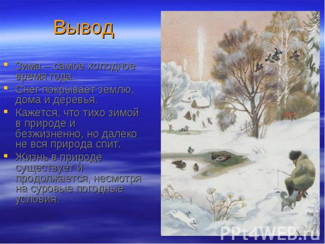 Зима – самое холодное время года. Зима – самое холодное время года. Снег покрывает землю, дома и деревья. Кажется, что тихо зимой в природе и безжизненно, но далеко не вся природа спит. Жизнь в природе существует и продолжается, несмотря на суровые …