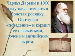 Чарльз Дарвин в 1860 году начал изучать в болотах росянку. Он изучал «поведение»